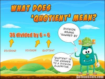 What does quotient mean? - A Free Printable Poster for your Math Wall or behind the Bathroom Door :-)