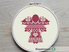christmas cross stitch pattern, christmas angel, nordic angel, Scandinavian style, PDF, ** instant download**