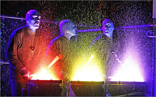 """Catch a Blue Man Group show at the Charles Playhouse! They also have student discounted tickets! """"If you have $30 cash or credit and a valid college ID or ISIC card, bring them to the box office an hour before the performance on the day of the show. Provided there are some left, we'll sell you a student rush ticket."""""""