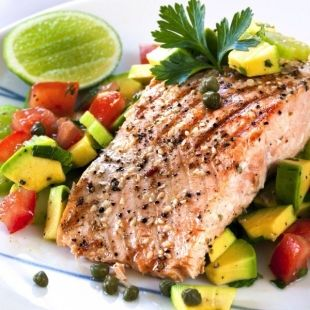 black pepper salmon with avocado salad skinny ms good but too much honey