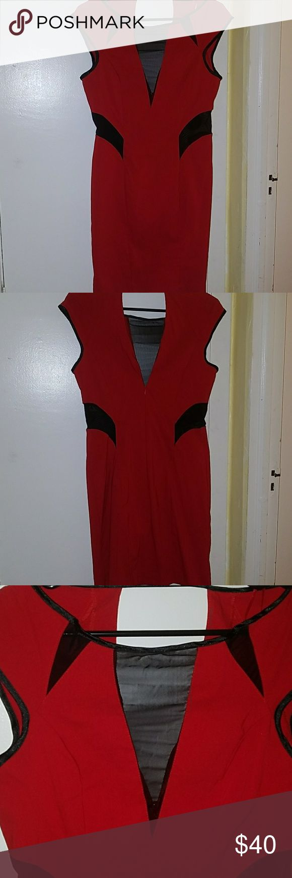 Miss Selfridge Red Mesh Peek A Boo Dress Miss Selfridge Brand Sexy Red Body Con Dress Black Mesh Insert Details on Chest and Waist US Size 10/UK Size 14 Worn Once- Very Good Condition Miss Selfridge Dresses