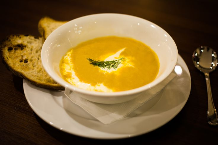 Creamy pumpkin soup from Essence Café