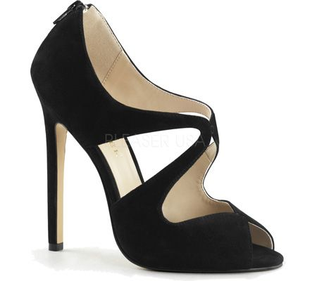 Women's Pleaser Sexy 12 - Black Suede with FREE Shipping & Exchanges. The Sexy 12 is a fierce 5 Stiletto open toe style with cutaway shapes and a back zipper.