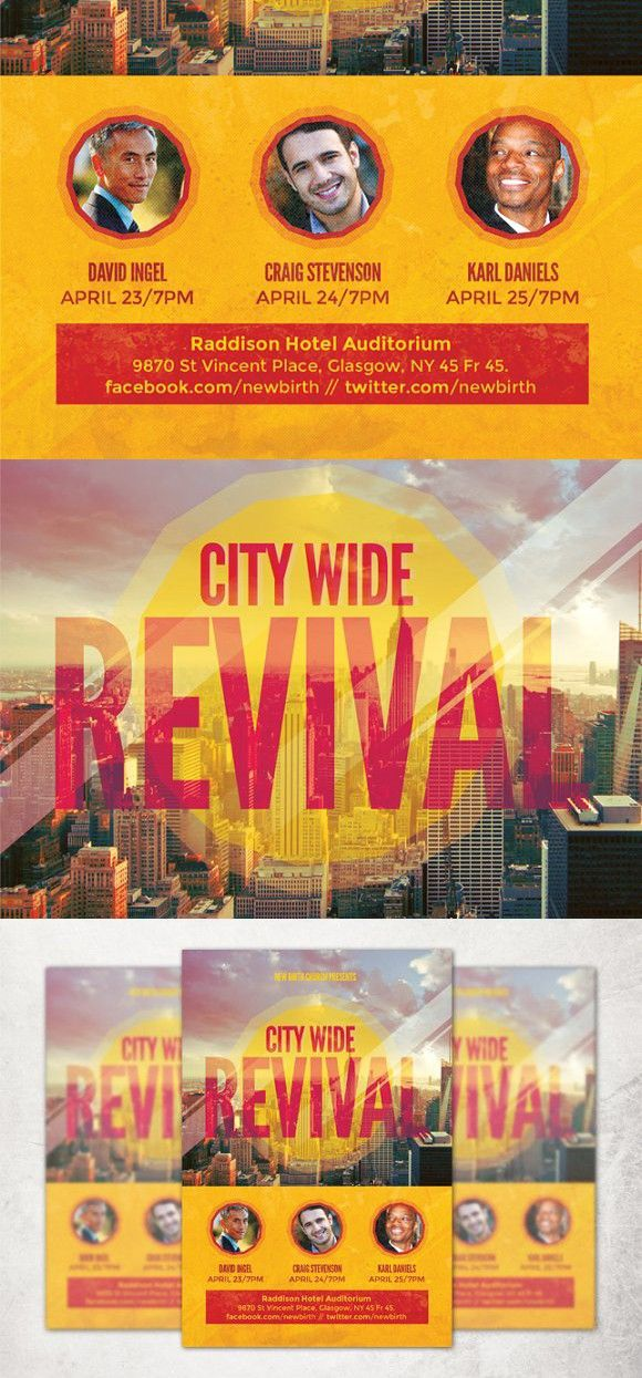 City Wide Revival Church Flyer Church Poster Design Church Poster Flyer