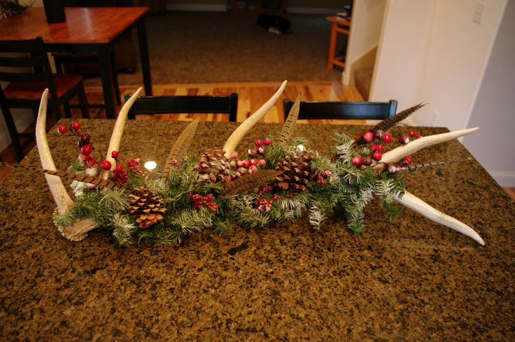 Elk Antler Christmas Holiday Centerpiece by DeCaroDecor on Etsy, $120.00