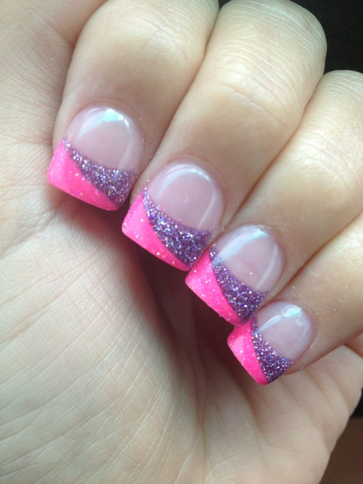 Split Tip Pink And Purple Sparkley Acrylic Nails. Half