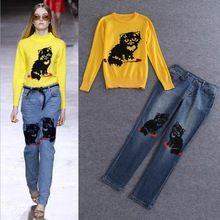 Migliore qualità di vestiti nuovi set di moda 2015 autunno inverno donne cute cat modelli maglione lavorato a maglia giallo + jeans denim pieno pant (1 set)(China (Mainland))