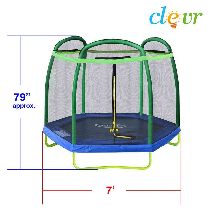 Clevr Clevr 7 Ft. Trampoline Bounce Jump Safety Enclosure Net W/ Spring Pad Round (CL_CRS805404) - Alt Image 2