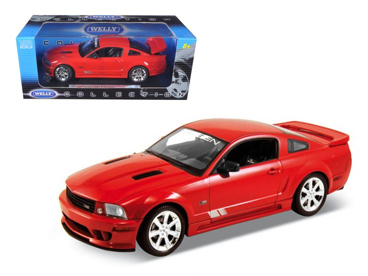 2007 Ford Mustang Shelby Saleen S281E Red 1/18 Diecast Model Car by Welly - Brand new 1:18 scale diecast model of 2007 Ford Mustang Saleen S281E die cast car by Welly. Has steerable wheels. Brand new box. Rubber tires. Has opening hood, doors and trunk. Made of diecast with some plastic parts. Detailed interior, exterior, engine compartment. Dimensions approximately L-10.5, W-4, H-3.5 inches. Please note that manufacturer may change packing box at anytime. Product will stay exactly the…