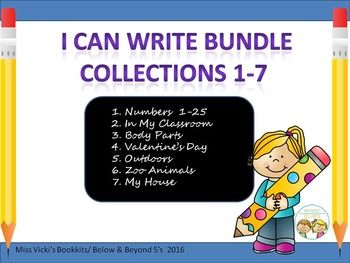 I Can Write Bundle Collection 1-7 How do you spell_______? Seems to be a question teachers hear over and over again. This bundle is designed to eliminate some of those questions!  Included in this bundle are 137 word picture cards. Collections:1.Numbers 1-25  25 cards.