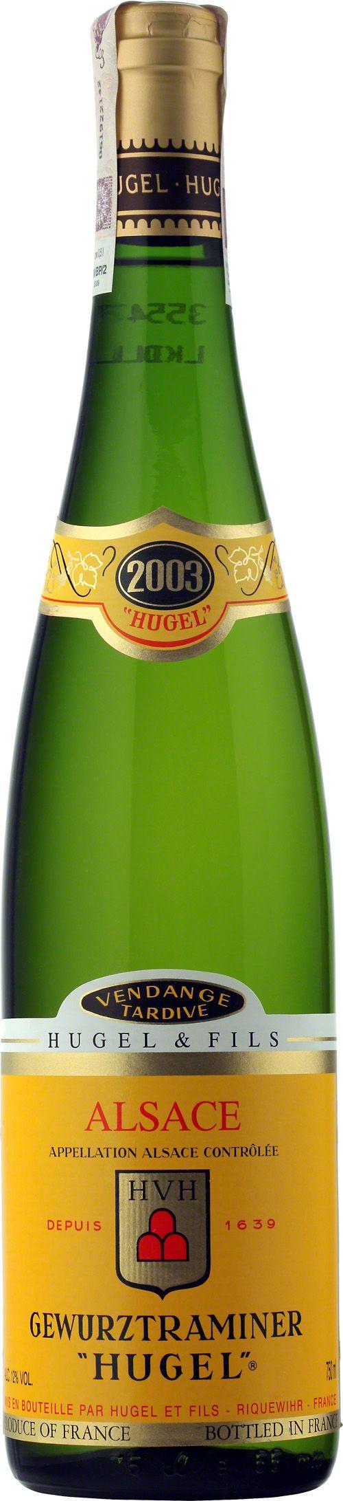 Hugel Vendange Tardive Gewürztraminer Alsace A.O.C. Duma i radość rodziny Hugel i pionier win późnego zbioru w Alzacji. Należy do wyjątkowych rarytasów i jest doceniane przez koneserów na całym świecie. Niezwykle głębokie i bogate wino, o gęstości nektaru. Może dojrzewać w butelce przez dziesięciolecia. Zdumiewająco złożony bukiet i smak. #Wino #Hugel #Gewurztraminer #Winezja #Alzacja