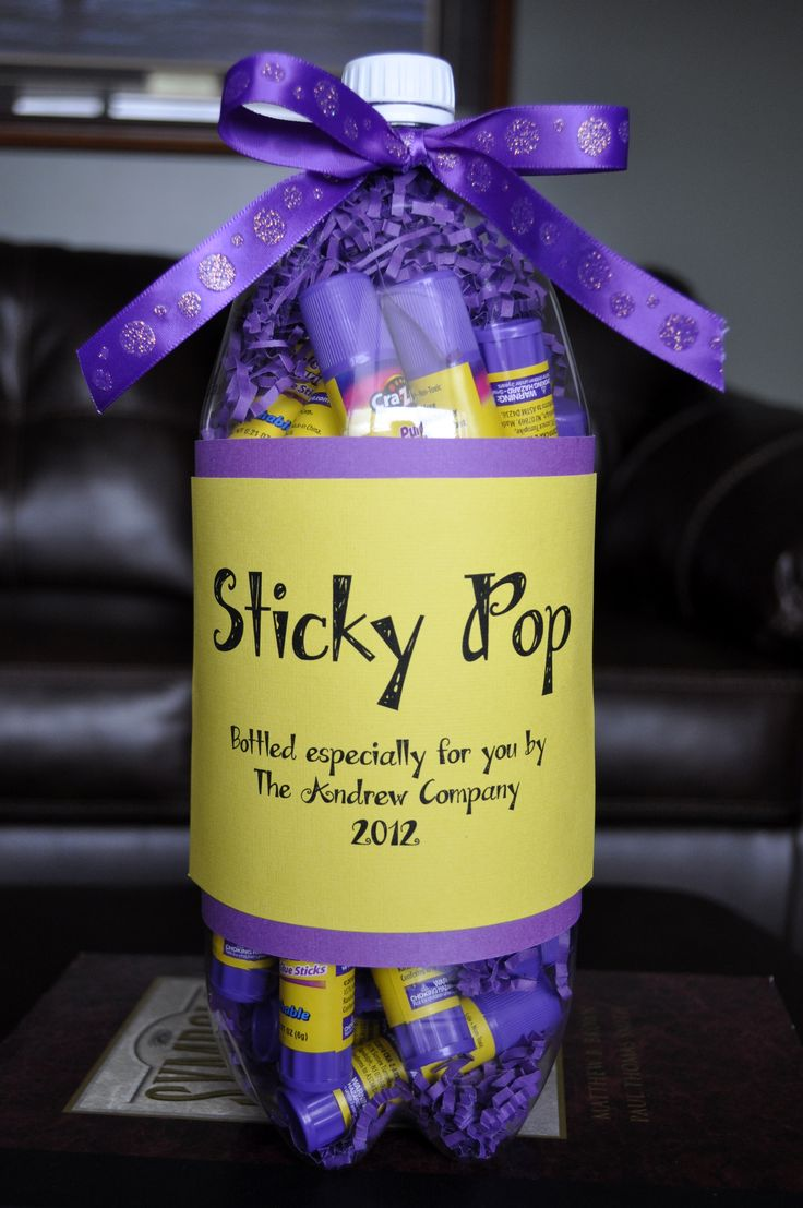 Teacher Thank You's | BeOrganizedTheOrganizedParent: Great for so many gift ideas! Cut bottle on side, stuff, and label.