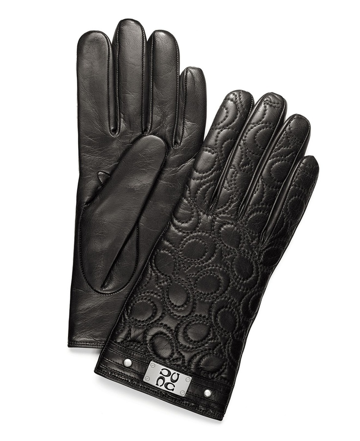 COACH QUILTED SIGNATURE PLAQUE GLOVE - Hats, Gloves & Scarves - Handbags & Accessories - Macy's