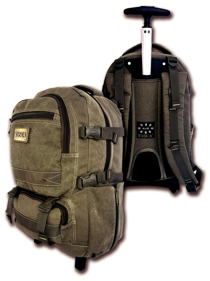 """Tosca Canvas 15"""" Laptop Trolley Backpack @ R1,000 Weight: 2.45 kg Dimension: 29.00 x 16.50 x 45.00cm  Purchase online: https://www.luggageladies.com/index.php?route=product/product&product_id=196  Features: Main Compartment, Side Expansion Clips, Side Zip Pockets, Front Pocket With Zip Pocket, Front with Expansion Clips, Padded Carry Handle, Adjustable Padded Back Straps, Padded Back Panels For Back Support, Pouch Button Aluminium, Trolley Handle  Available Colours: Green, Khaki…"""