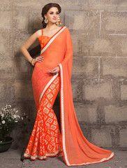 Orange Color Half Wrinkle Chiffon & Half Brasso Casual Party Sarees : Rehnuma Collection YF-31987