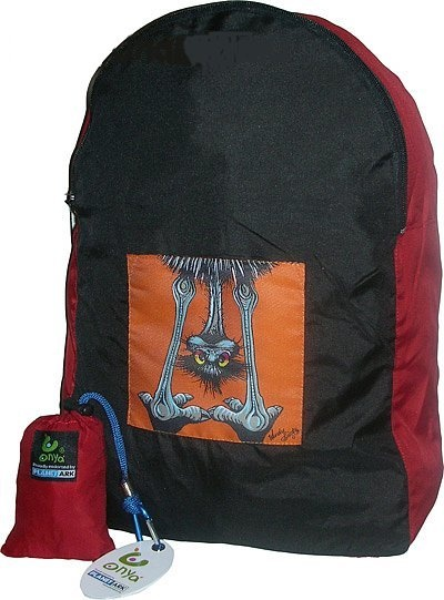 Down Under Emu stuff-away backpack. Made with recycled plastic. Stuffs into small pouch, great to take on holiday/travelling. http://www.greengiftsaustralia.com.au/shop/index.php?main_page=product_info&cPath=8&products_id=199$24.95