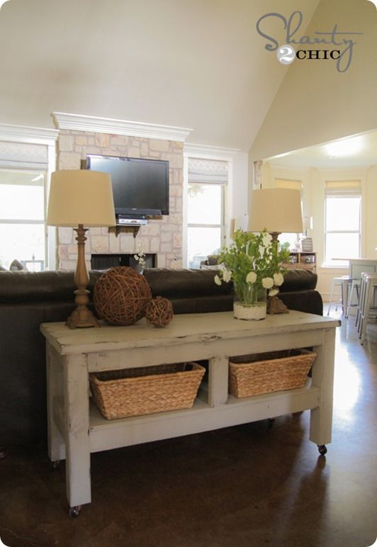 Build your own sofa console table like Pottery Barn.  Just some time, a bunch of round up discarded materials and some finishing details.  Even the baskets can be found discarded in second hand stores and garage sales.