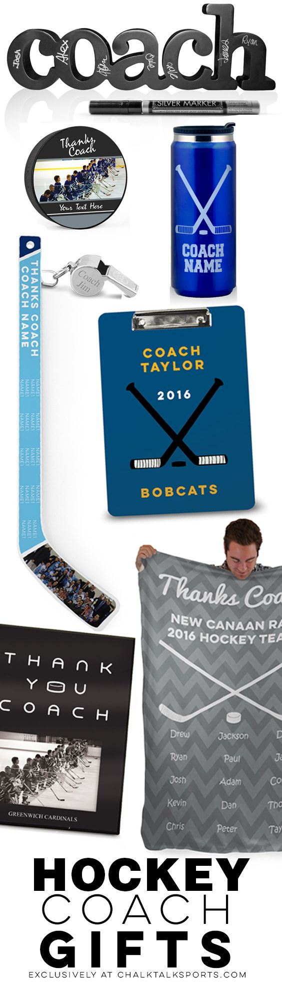 """We've got everything you need to say """"Thanks Coach!"""" for a great hockey season! Our customization options make great personalized gifts!"""