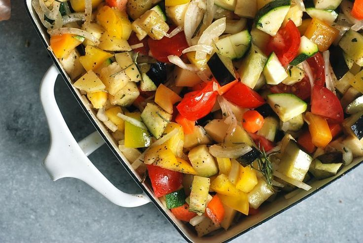 A new way to roast vegetables: In a pile, in a baking dish.