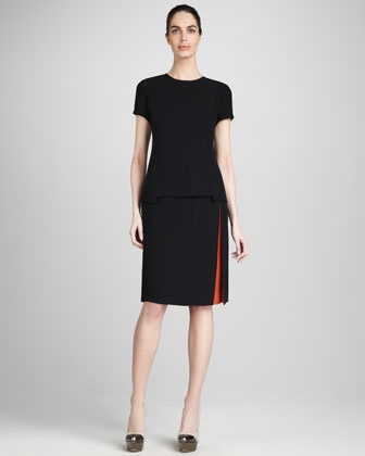 Long Back Silk-Blend Tee & Color Contrast Pencil Skirt by Magaschoni at Neiman Marcus.Silk Blends Tees, Colors Contrast, Contrast Pencil, Pencil Skirts, Neiman Marcus, Magaschoni Long