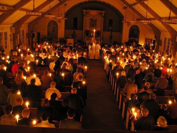 Easter vigil mass w candles