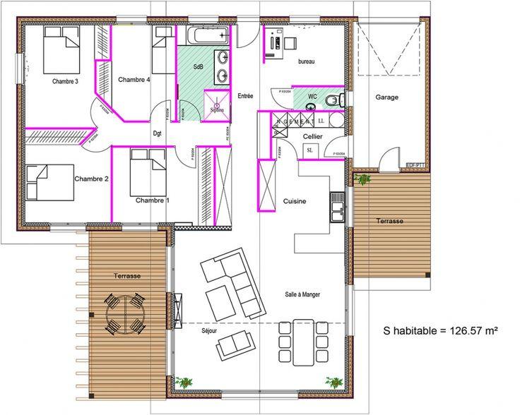 89 best Háztervek images on Pinterest Floor plans, Plants and - plans de maison gratuit plain pied