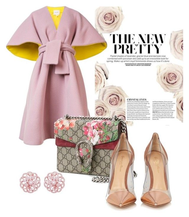 """Pretty in pink"" by evanshram on Polyvore featuring Delpozo, Gucci and Gianvito Rossi"