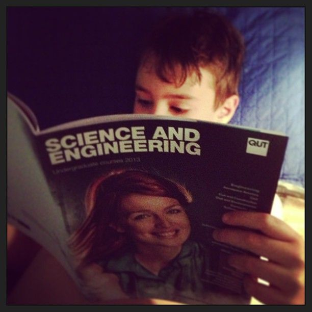Some light bedtime reading for the 10yo :/ @QUT @QUTSciEng #theygrowupsofast