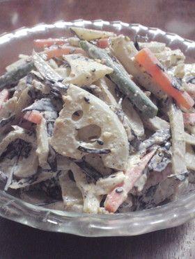 ひじきと根菜のごまマヨ柚子胡椒サラダ