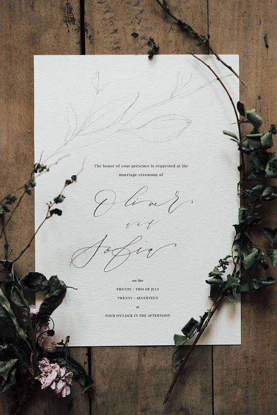 Elegant Ink Botanical Fine Line Floral Calligraphy Wedding Invitation Suite