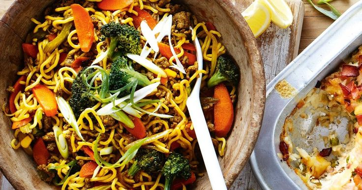 Use up the leftover vegies in the fridge with this quick and easy Asian-style noodle dinner.