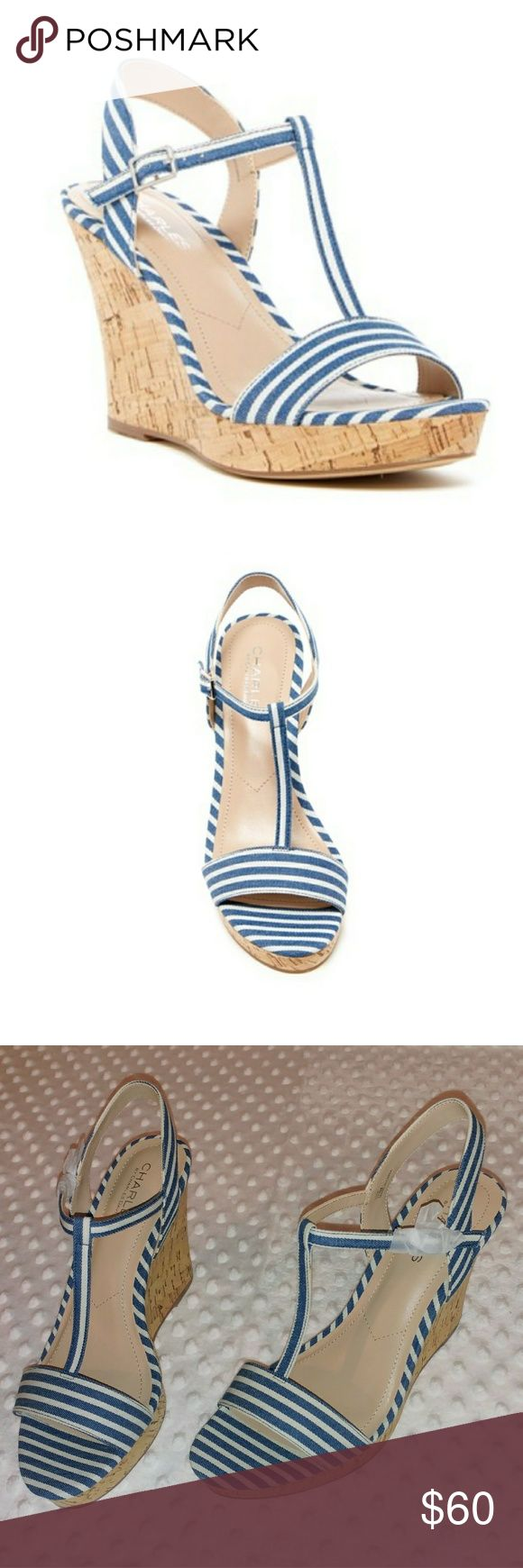 "Charles David NWT wedge sandals Charles by Charles David navy stripped wedge sandals.   New In Box  4"" rise from their highest, 1"" rise at their lowest Charles David Shoes Wedges"