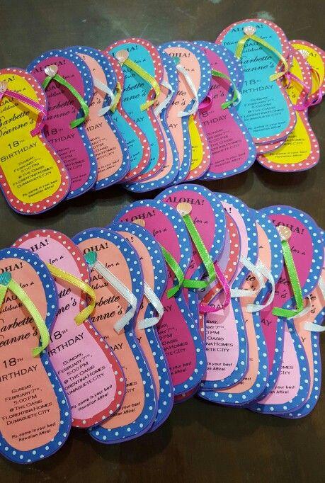 e77a209041072e Slipper invitation for a Hawaiian-themed party