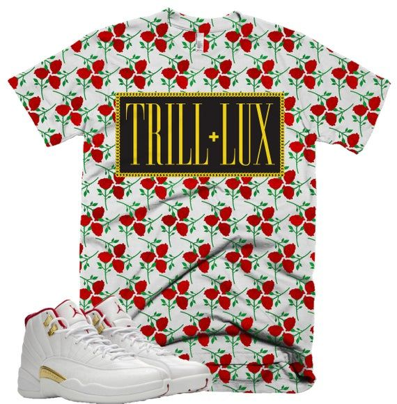 Trill Lux Rose Tee Retro Jordan 12 Fiba Colorblock T Shirt