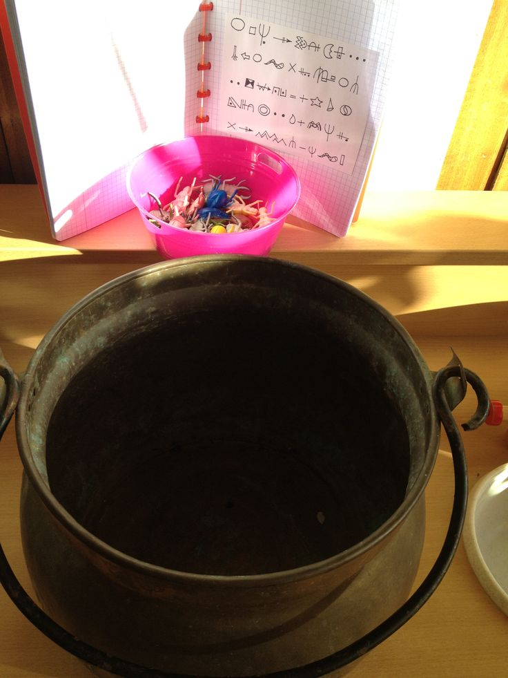 Trollenkeuken: koken met insecten, kikkers, slangen. Met behulp van een kookboek met toverspreuken.  Juf Jana