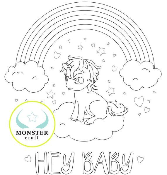 Printable Baby Unicorn Rainbow Coloring Page Fantasy Etsy In 2021 Baby Unicorn Coloring Pages Barfing Rainbows