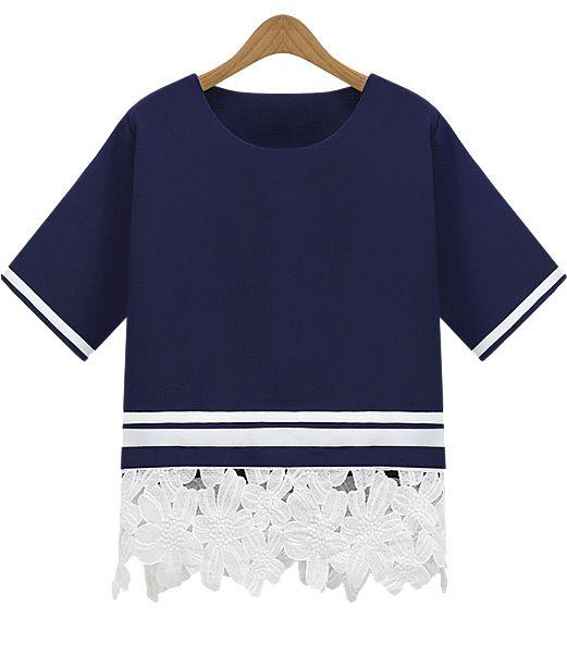 Shop navy short sleeve floral crochet loose t shirt online for T shirt offer online shopping