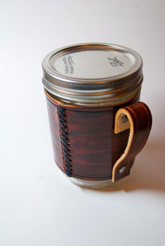 Handmade leather wraps for Mason Jars, coverts it into a stylish glass mug.