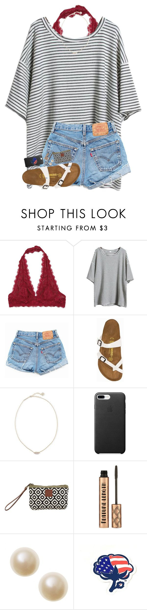 """REALLY warm today...❄️"" by hgw8503 ❤ liked on Polyvore featuring Free People, Levi's, Birkenstock, Kendra Scott and Southern Proper"
