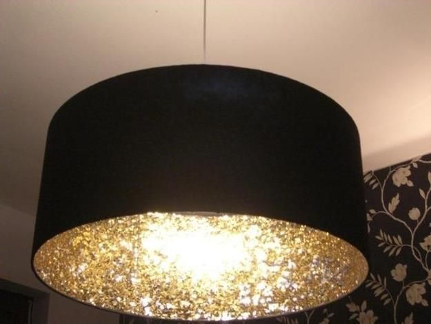 Coat the inside of a lampshade with glitter to create a cool reflective light effect