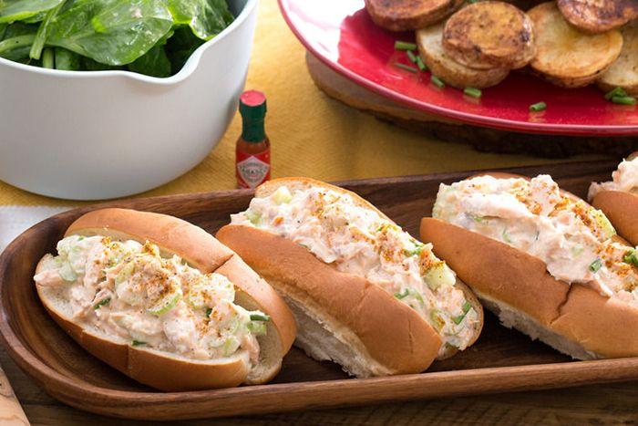 Salmon Rolls with Roasted Potatoes & Pea Tip Salad