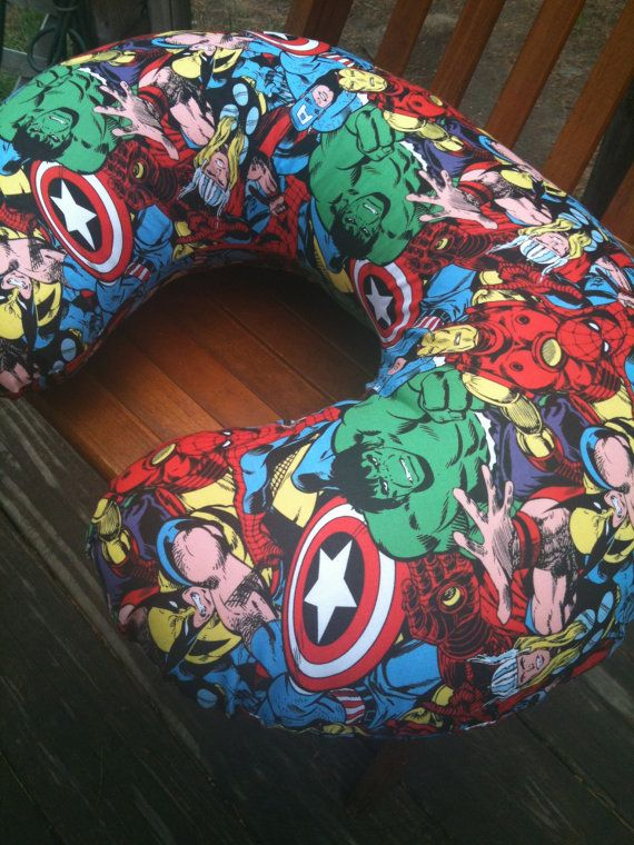 Boppy cover in Marvel Comic Avengers print, you choose zipper or sham opening on Etsy