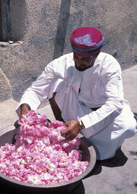 Making Rose Water in the Sultanate of Oman.  Rose water has a very distinctive flavour and is used heavily in Persian and Middle Eastern cuisine-especially in sweets such as nougat, gumdrops and baklava.  For example, rose water is used to give some types of Turkish delight their distinctive flavours.
