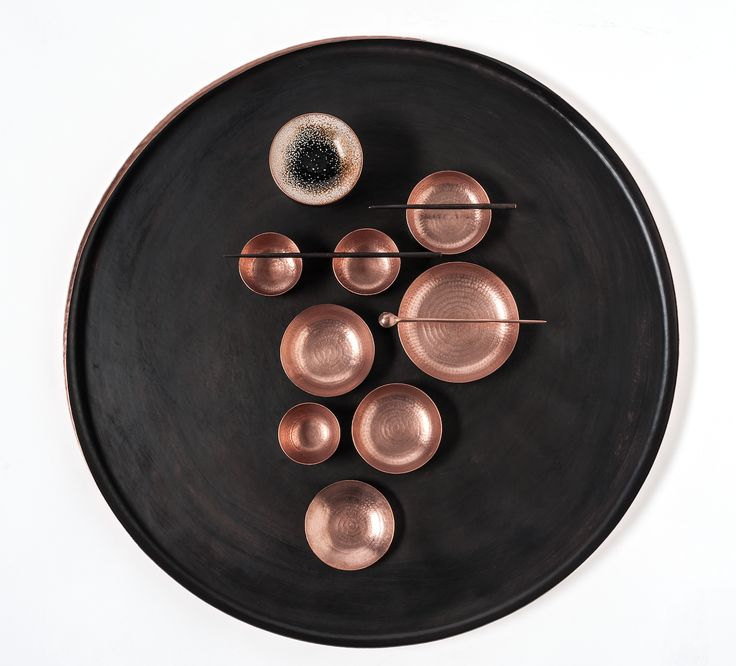 """full house"" hand chased Copper  tray and bowls, enameled Copper bowls, vintage glas from the collection ""7000 blows"" edition rauminhalt.at - zerunianandweisz"
