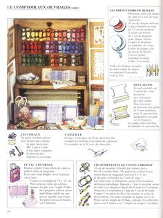 Dollhouse miniatures, French site: a miniature needlework/sewing shop display with how-to diagrams & French instructions.