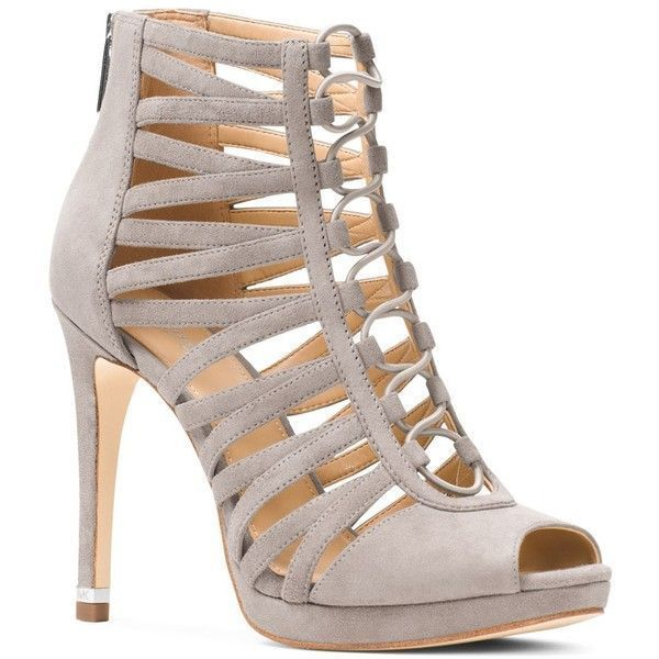 Michael Michael Kors Clarissa Caged Platform High Heel Sandals (625 RON) ❤ liked on Polyvore featuring shoes, sandals, pearl gray, michael michael kors, pearl sandals, grey sandals, grey shoes and heeled sandals #tansandalsheels