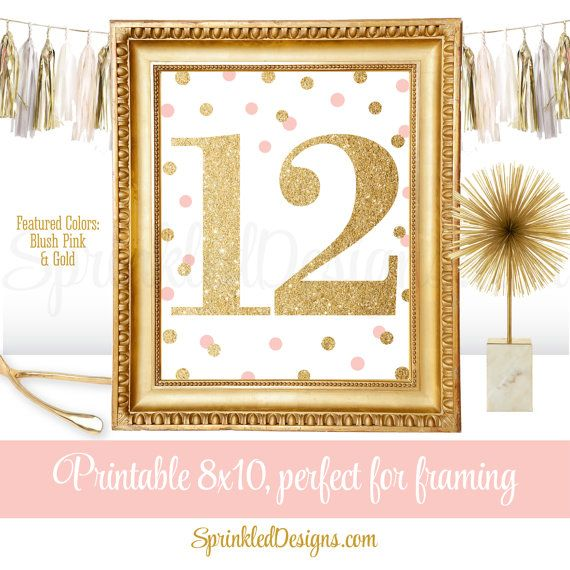 12th Birthday Party - Twelfth Birthday - Number Twelve 12 Sign - Blush Pink Gold Glitter - Printable Girl Birthday Party Decorations by SprinkledDesigns.com