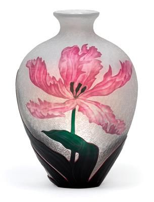 Henri Bergé, An overlaid and etched glass vase,