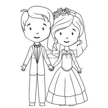 couple de mariés dessin: Livre à colorier: marié de bande dessinée et de l'épouse Illustration