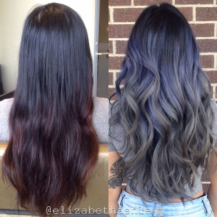 Before Amp After Purple Grey Ombr Elizabethashleyy Hair